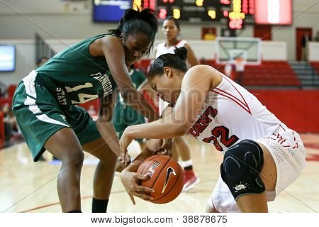 NEW YORK-NOV 3: Farmingdale Rams forward Siohban Purvis (14) and St. John's Red Storm forward Mallory Jones (32) battle for the ball on November 3, 2012 in Jamaica, Queens, New York York.
