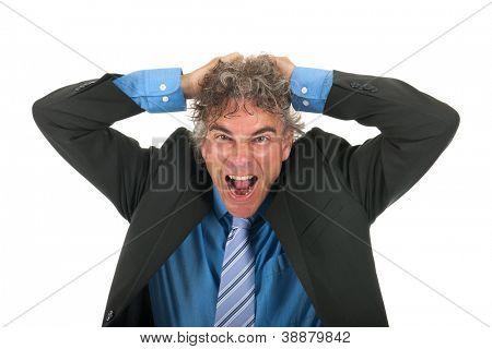 Porträt erwachsenen Mann mit locken und formellen Anzug mit viel stress