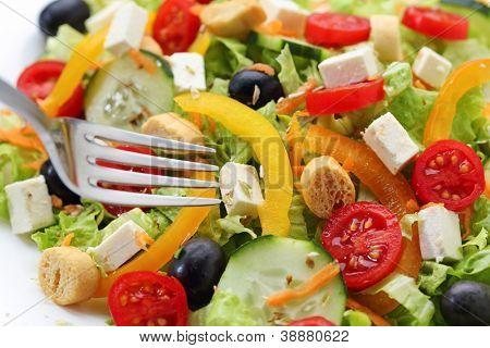 white cheese salad closeup