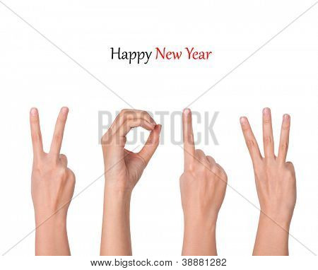hands forming number 2013