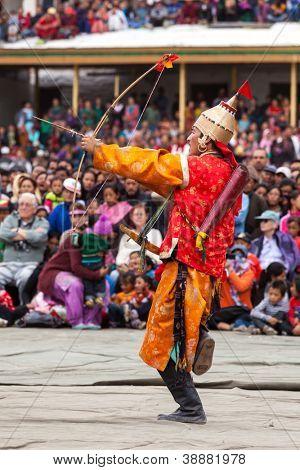 LEH, INDIA - SEPTEMBER 08: Dancer in traditional Ladakhi Tibetan costumes perform warlike dance at the Annual Festival of Ladakh Heritage in Leh, India. September 08, 2012