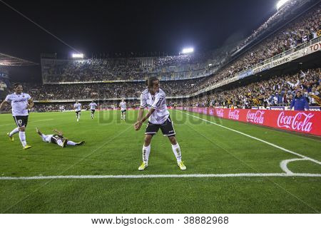 VALENCIA - NOVEMBER 3: Valdez celebrates a goal during Spanish Cup match between Valencia CF and AT Madrid, on November 3, 2012, in Mestalla Stadium, Valencia, Spain
