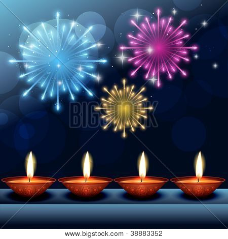 vector beautiful happy diwali background