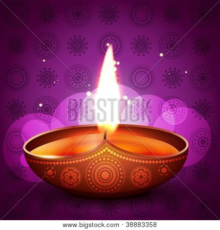 stylish vector diya on artistic purple background