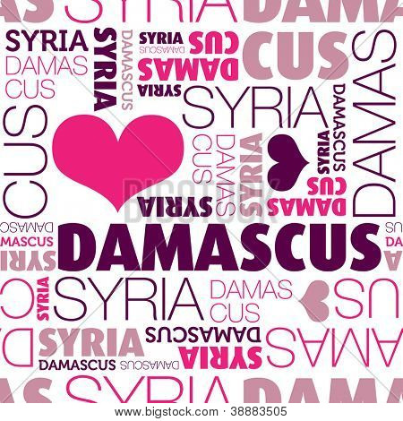 I love Damascus Syria seamless typography background pattern in vector