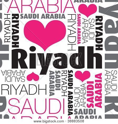 I love Riyadh Saudi Arabia seamless typography background pattern in vector