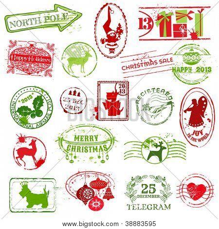 Colección de sellos de Navidad - para diseño, scrapbook, invitación - en vector