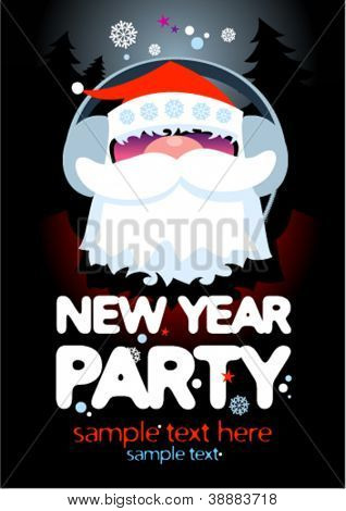 New Year Party design template with Santa and place for text.