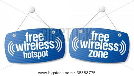 Free wireless zone internet signal signs to the store and bar.