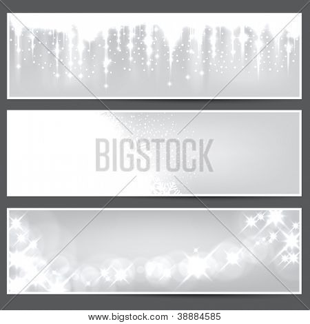 Glowing silver christmas banners. Vector eps10.