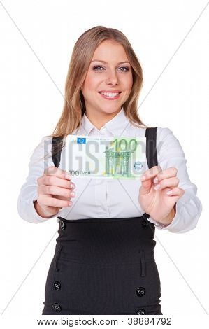 smiley businesswoman holding one hundred euros. studio shot over white background