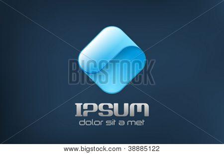 Corporate logo template. Innovative abstract icon.  Infinite loop shape. Rhombus Ribbon Vector.