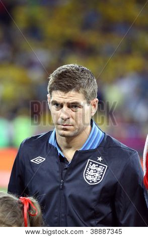 Steven Gerrard Of England Sings The National Anthem