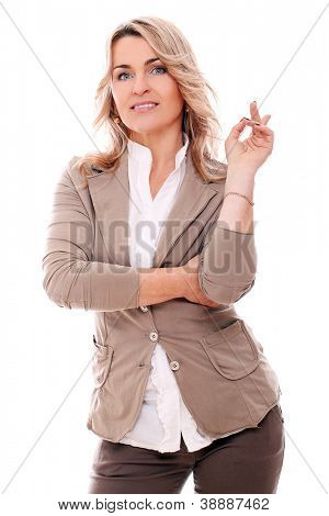 Portrait of attractive middleage woman smiling over a white background