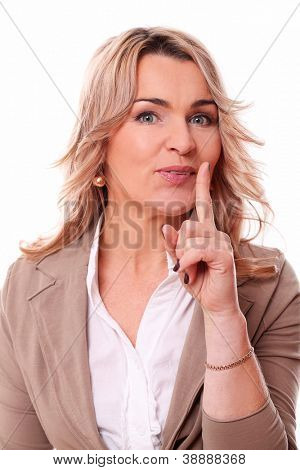 Closeup of happy mature woman quiet gesture on a white background