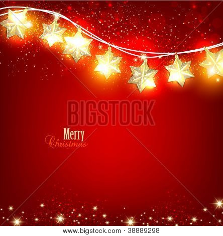 Red Christmas  background with luminous garland. Vector illustration