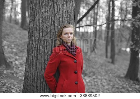 Stylized photo of girl in a red coat in the autumn park