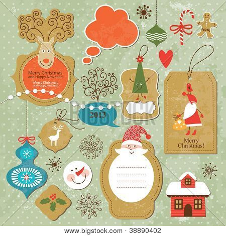 Set of vintage Christmas and New Year elements