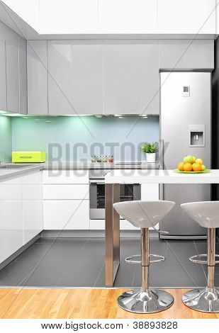 A view of a modern kitchen interior