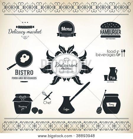 Label set for restaurant and cafe