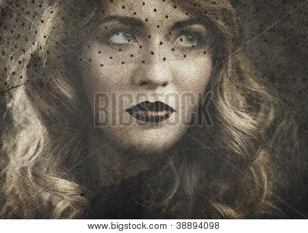 femme fatale, vintage style sensual portrait on old paper