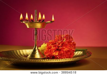An indian Puja Thali (plate)