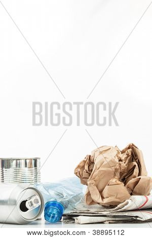 Various recyclable waste on white background
