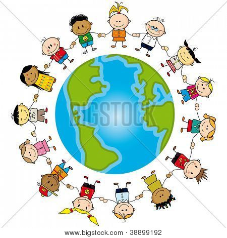 Earth is my friend. Group of children around the world.