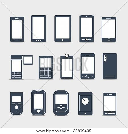 Modern mobile gadgets silhouettes