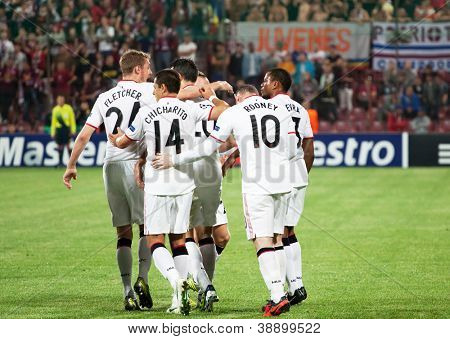 CLUJ-NAPOCA, ROMANIA - OCTOBER 2: Manchester team after scoring a goal, UEFA Champions League, CFR 1907 Cluj vs Manchester United, Dr. C. Radulescu Stadium on 2 Oct., 2012 in Cluj-Napoca, Romania
