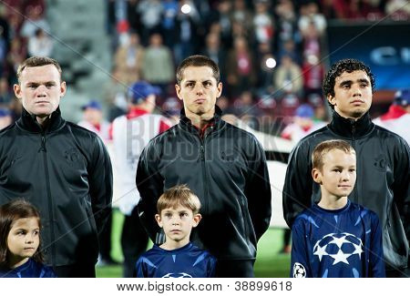 CLUJ-NAPOCA, ROMANIA - OCTOBER 2: Rooney, Hernandez and Rafael in UEFA Champions League match between CFR 1907 Cluj and Manchester United, on 2 Oct., 2012 in Cluj-Napoca, Romania
