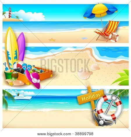 illustration of template for holiday on sea beach