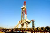 image of drilling platform  - Land drilling rig in Shengli Oil Plant of China