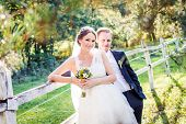 image of bridal veil  - Bride and Groom on wedding day - JPG