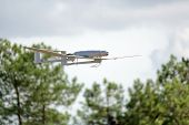 pic of drone  - uav army drone plane flying in country - JPG