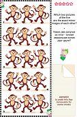 Постер, плакат: Визуальные головоломки обезьяны зеркало изображений
