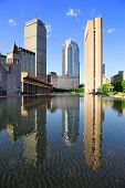 pic of prudential center  - Christian Science Plaza in midtown Boston with urban city view and water reflection - JPG