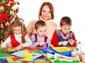 picture of card-making  - Children boy and girl making Santa card for Christmas - JPG
