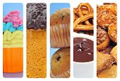 a collage of of different pastries and sweet food, such as cupcakes, panettone, churros con chocolat