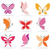 image of flying-insect  - set of butterfly icons isolated vector illustration - JPG
