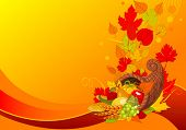 image of cornucopia  - Thanksgiving background with cornucopia full of harvest fruits and vegetables - JPG