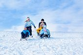 image of sleigh ride  - Sleigh riding leisure time in winter - JPG