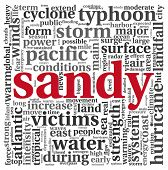 Sandy orkaan concept in woord tag cloud op wit