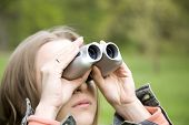 Woman Looking With Binoculars