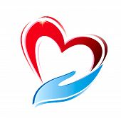 foto of environment-friendly  - hand holding a heart icon isolated vector symbol - JPG