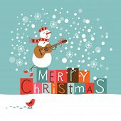 stock photo of christmas song  - Greeting Christmas and New Year card - JPG