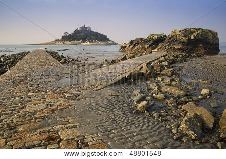 Path to St Michael's Mount from Marazion low tide landscape