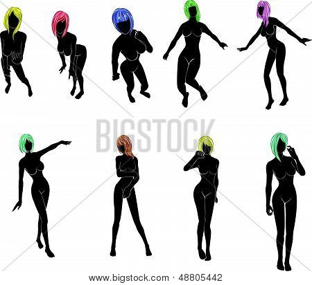 women with colorful  hair  in various actions