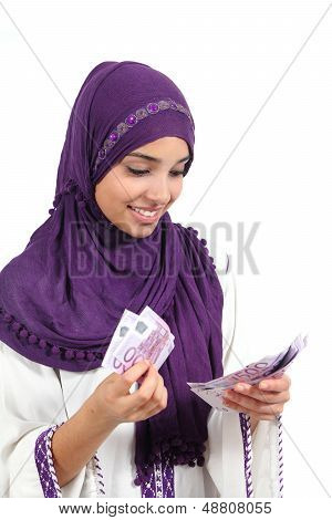 Beautiful Arab Woman Counting A Lot Of Five Hundred Euros Banknotes