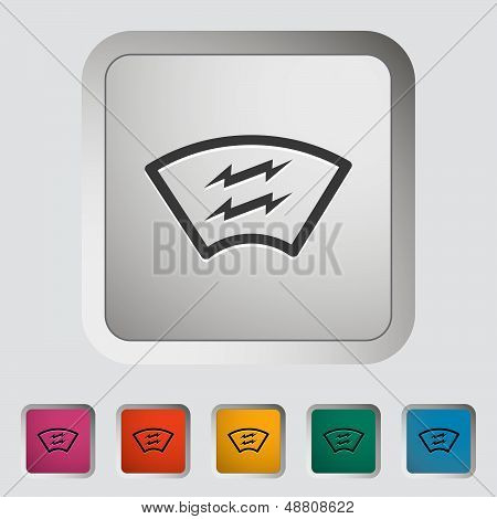 Heating automotive glass single icon.